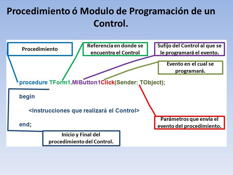 Procedimiento ó Modulo de Programación de un Control.