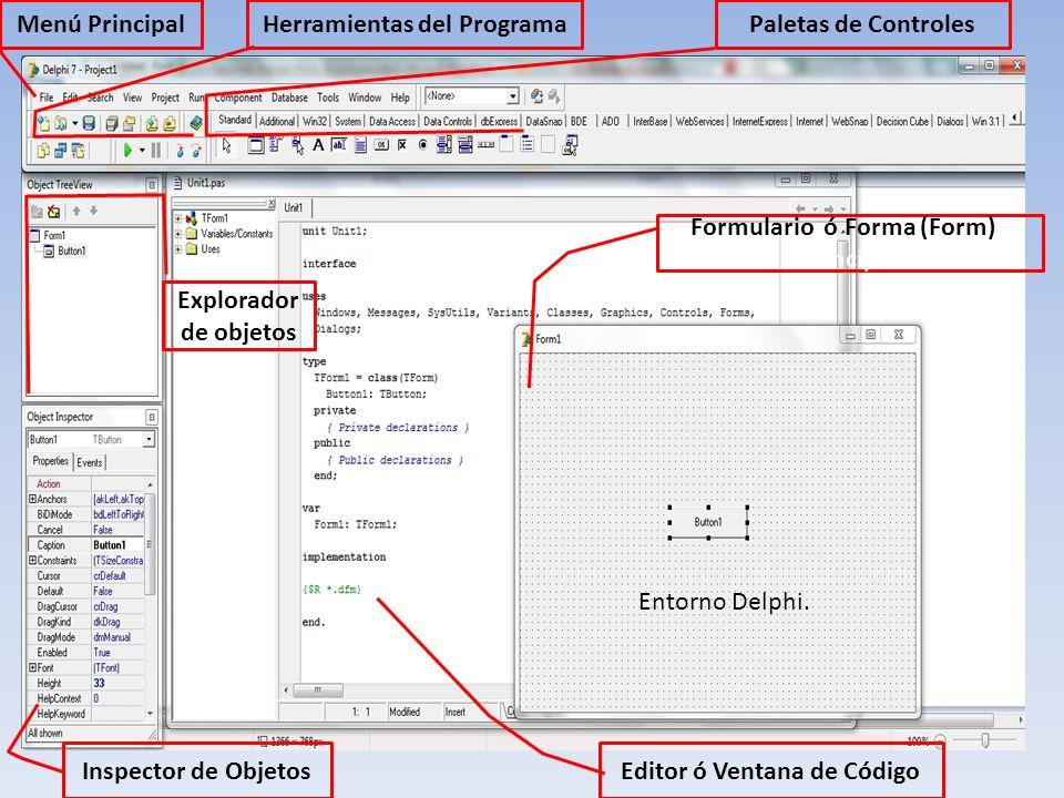 Menú PrincipalHerramientas del ProgramaPaletas de Controles Formulario ó Forma (Form)ú Principal Inspector de Objetos Editor ó Ventana de Código Explo