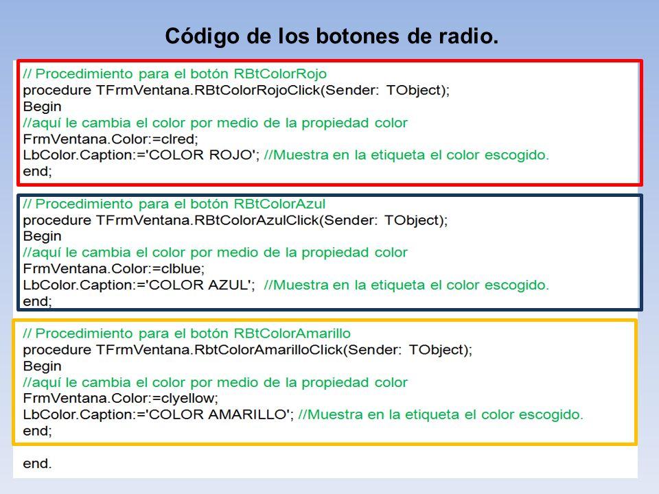 Código de los botones de radio.