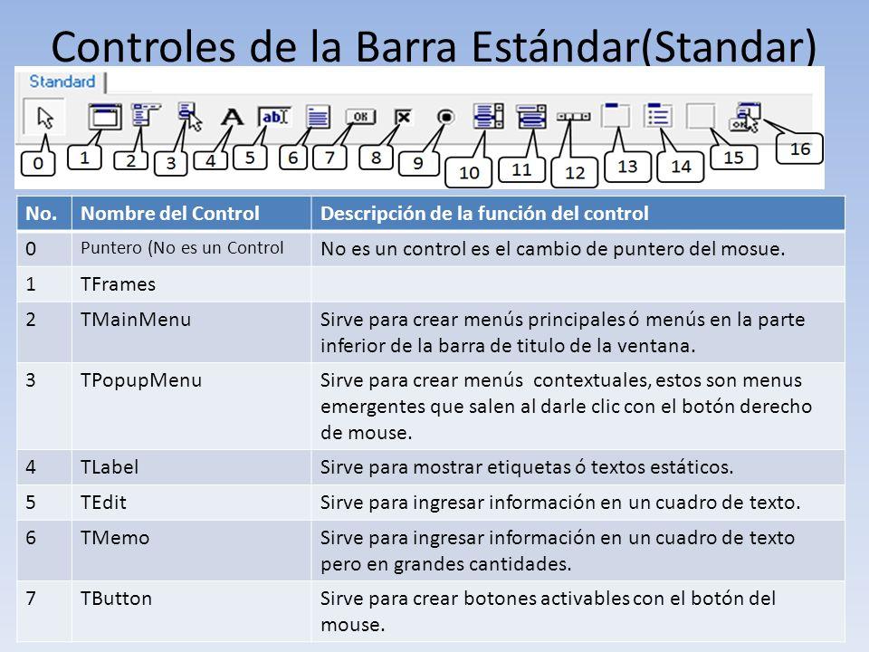 Controles de la Barra Estándar(Standar) No.Nombre del ControlDescripción de la función del control 0 Puntero (No es un Control No es un control es el