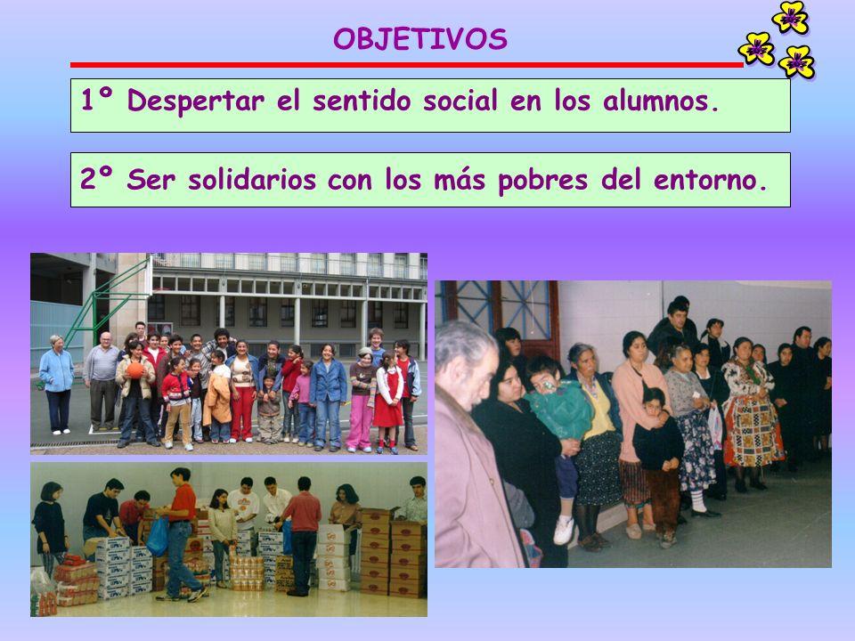 1º Despertar el sentido social en los alumnos. 2º Ser solidarios con los más pobres del entorno. OBJETIVOS