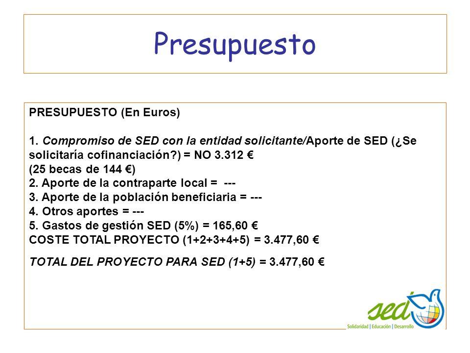 Presupuesto PRESUPUESTO (En Euros) 1. Compromiso de SED con la entidad solicitante/Aporte de SED (¿Se solicitaría cofinanciación?) = NO 3.312 (25 beca