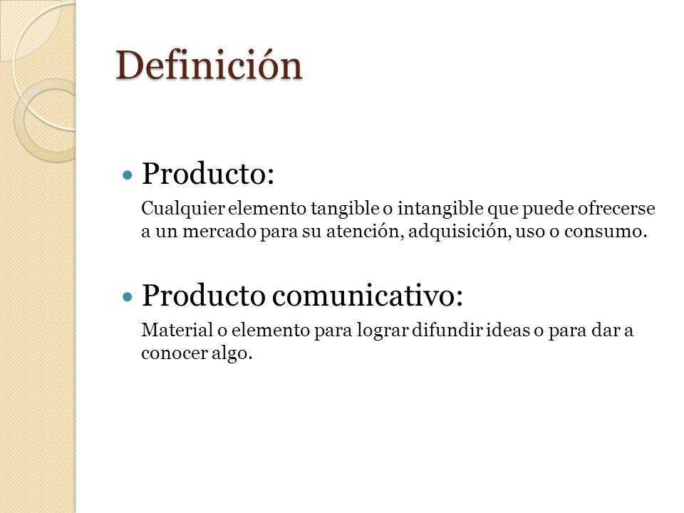 Definición Producto: Cualquier elemento tangible o intangible que puede ofrecerse a un mercado para su atención, adquisición, uso o consumo. Producto