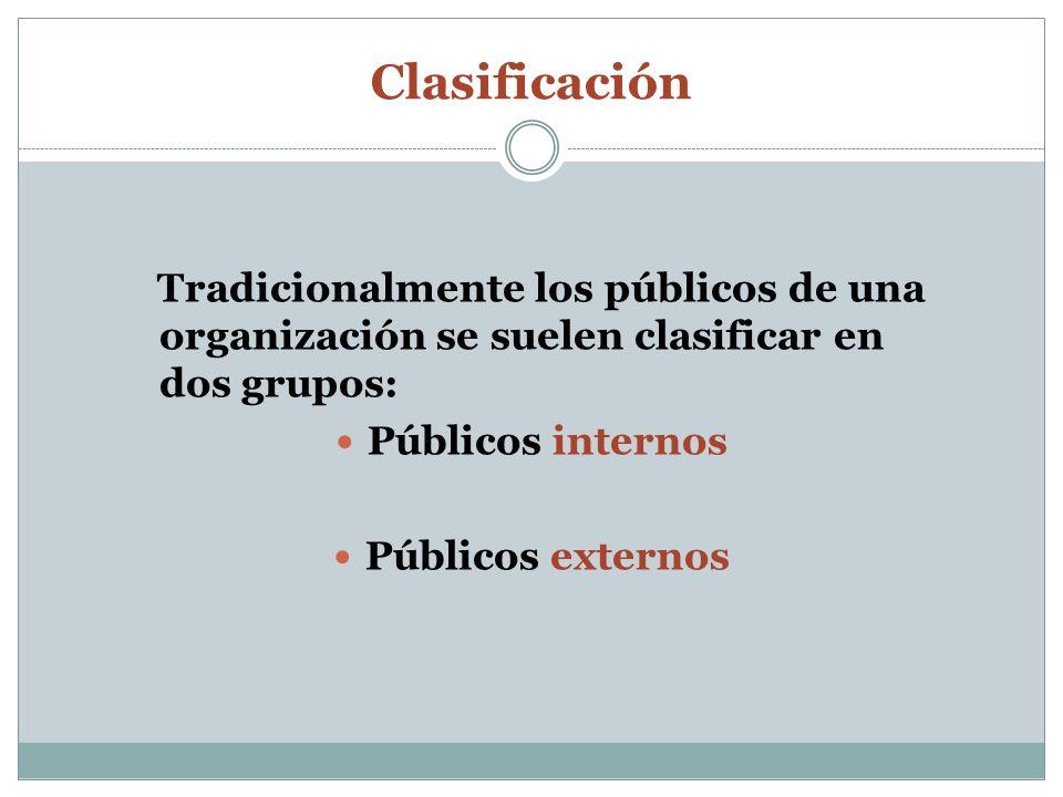 Clasificación Tradicionalmente los públicos de una organización se suelen clasificar en dos grupos: Públicos internos Públicos externos