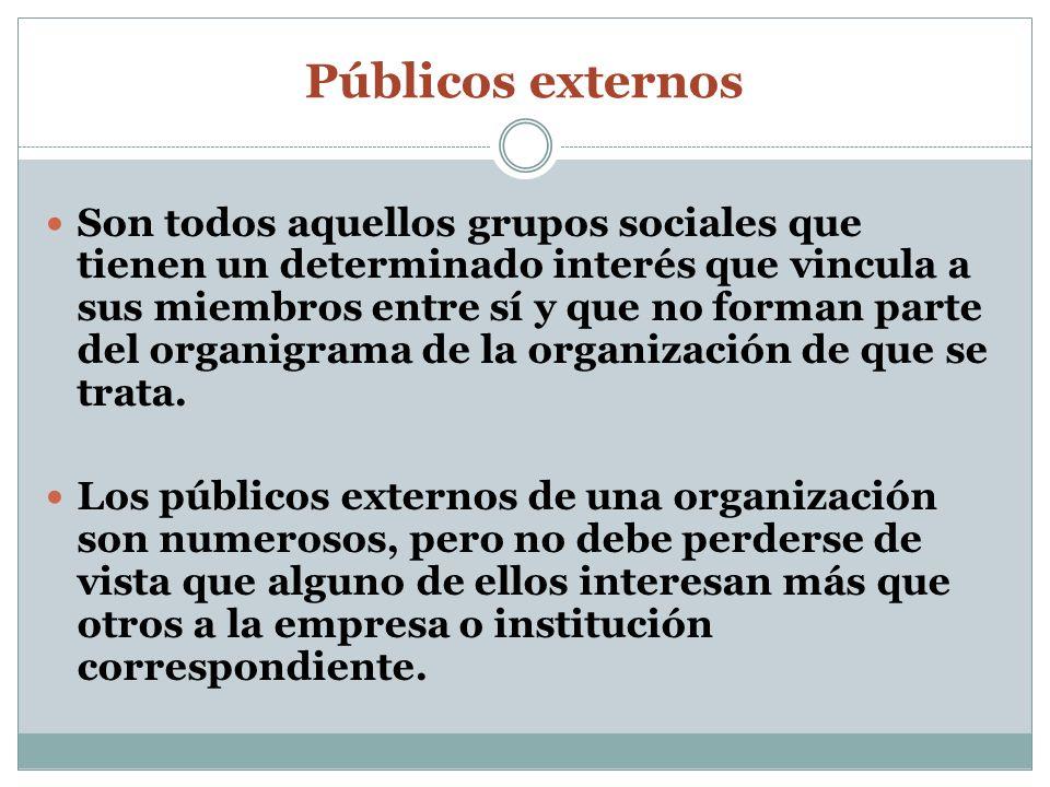 Públicos externos Son todos aquellos grupos sociales que tienen un determinado interés que vincula a sus miembros entre sí y que no forman parte del o