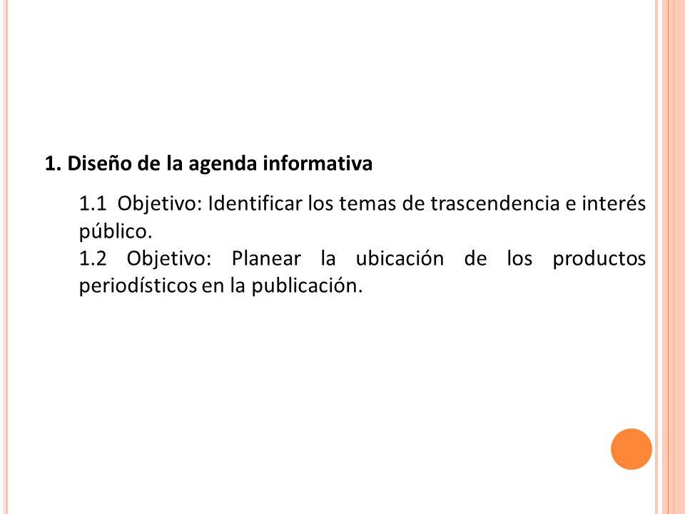 1. Diseño de la agenda informativa 1.1 Objetivo: Identificar los temas de trascendencia e interés público. 1.2 Objetivo: Planear la ubicación de los p
