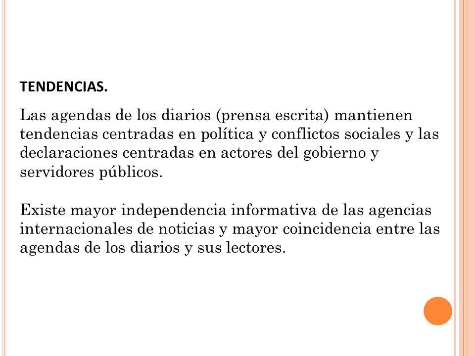 TENDENCIAS. Las agendas de los diarios (prensa escrita) mantienen tendencias centradas en política y conflictos sociales y las declaraciones centradas