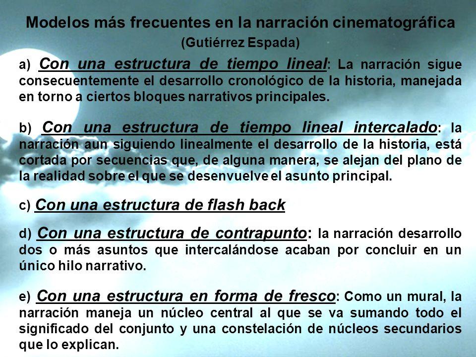 Modelos más frecuentes en la narración cinematográfica (Gutiérrez Espada) a) Con una estructura de tiempo lineal : La narración sigue consecuentemente