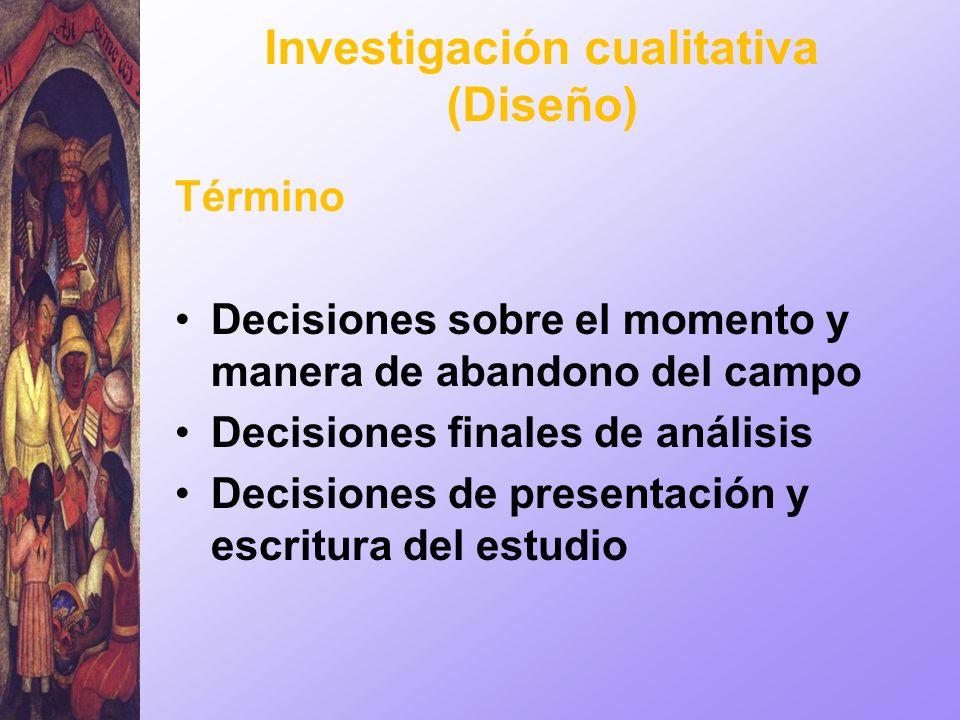 Investigación cualitativa (Diseño) Término Decisiones sobre el momento y manera de abandono del campo Decisiones finales de análisis Decisiones de pre