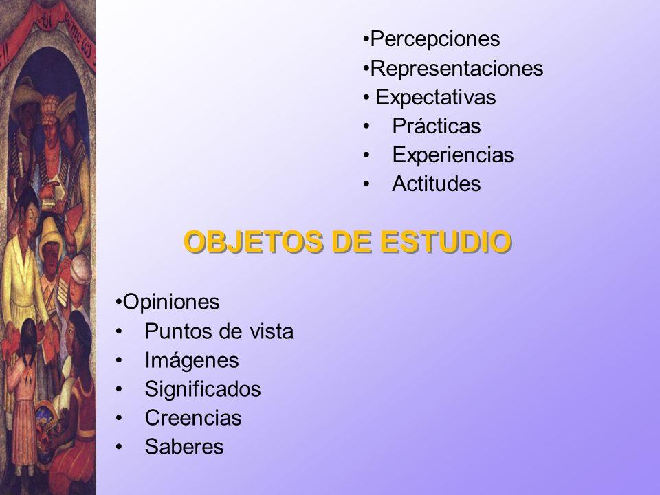 Opiniones Puntos de vista Imágenes Significados Creencias Saberes OBJETOS DE ESTUDIO Percepciones Representaciones Expectativas Prácticas Experiencias