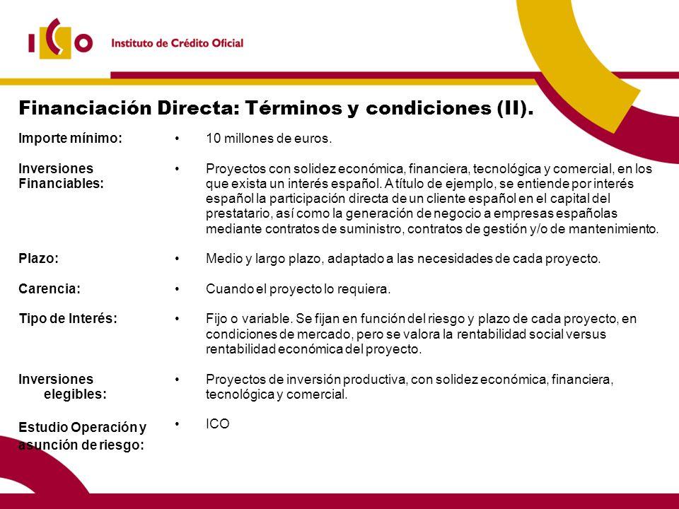 Financiación Directa: Términos y condiciones (II). Importe mínimo: Inversiones Financiables: Plazo: Carencia: Tipo de Interés: Inversiones elegibles: