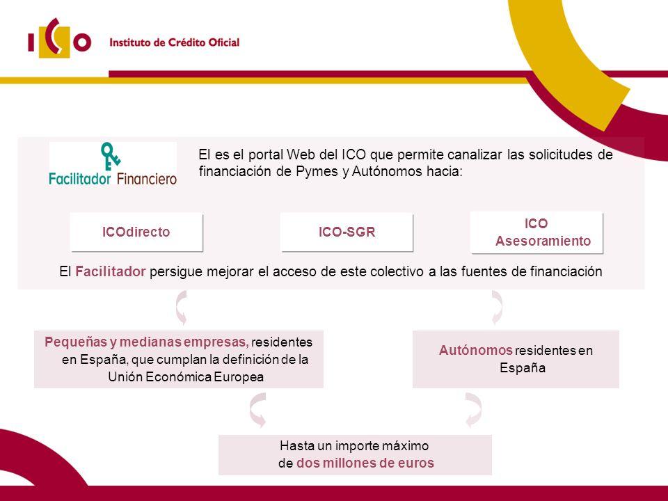 16 El es el portal Web del ICO que permite canalizar las solicitudes de financiación de Pymes y Autónomos hacia: El Facilitador persigue mejorar el ac