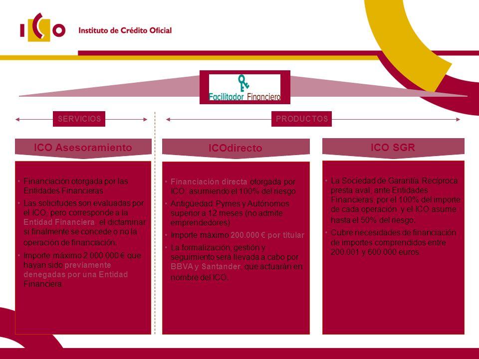 17 10/02/2014 Financiación otorgada por las Entidades Financieras Las solicitudes son evaluadas por el ICO, pero corresponde a la Entidad Financiera,