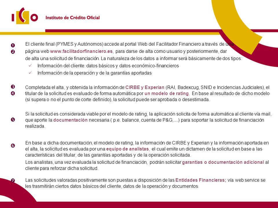 19 10/02/2014 El cliente final (PYMES y Autónomos) accede al portal Web del Facilitador Financiero a través de una página web www.facilitadorfinancier