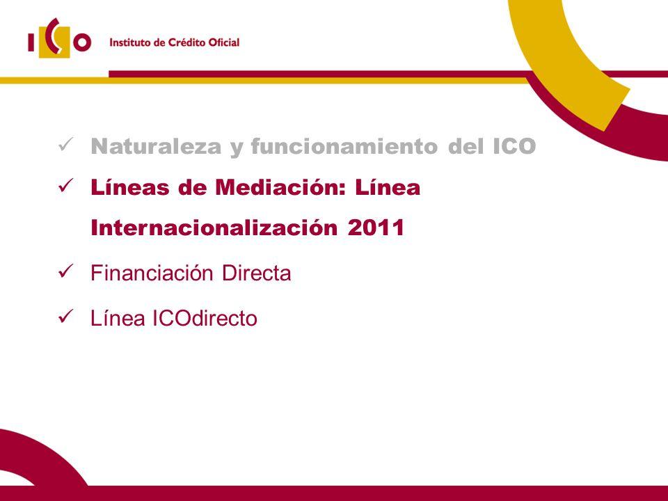 Naturaleza y funcionamiento del ICO Líneas de Mediación: Línea Internacionalización 2011 Financiación Directa Línea ICOdirecto