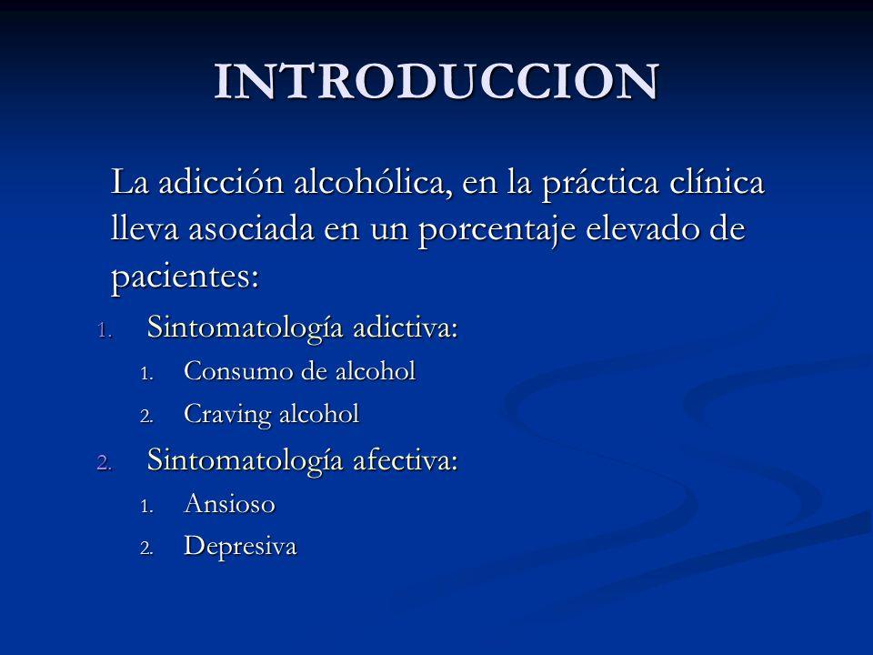 INTRODUCCION La adicción alcohólica, en la práctica clínica lleva asociada en un porcentaje elevado de pacientes: 1. Sintomatología adictiva: 1. Consu