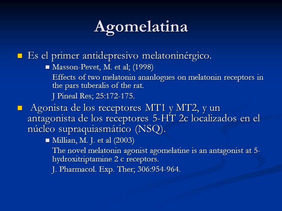 Agomelatina Es el primer antidepresivo melatoninérgico. Es el primer antidepresivo melatoninérgico. Masson-Pevet, M. et al; (1998) Masson-Pevet, M. et