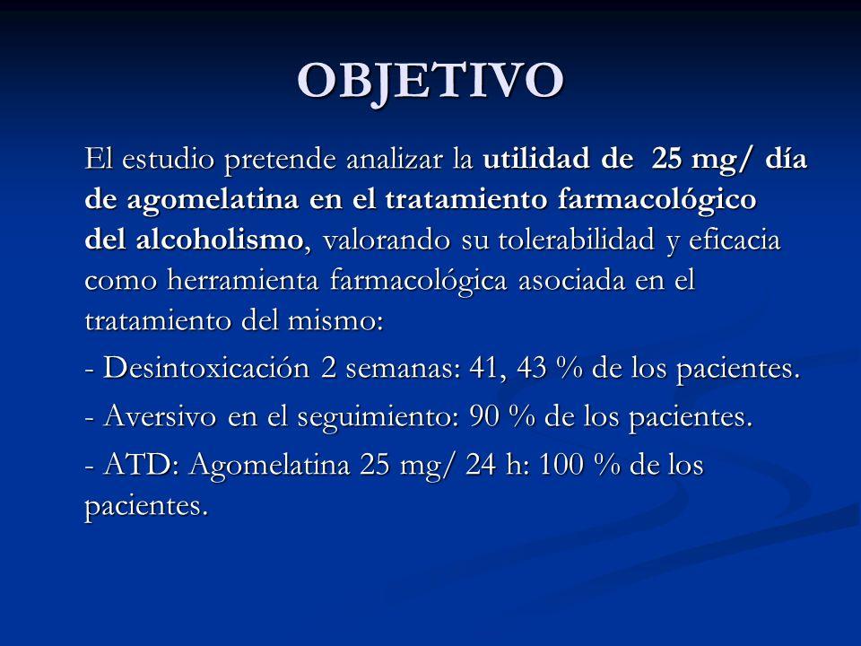 OBJETIVO El estudio pretende analizar la utilidad de 25 mg/ día de agomelatina en el tratamiento farmacológico del alcoholismo, valorando su tolerabil
