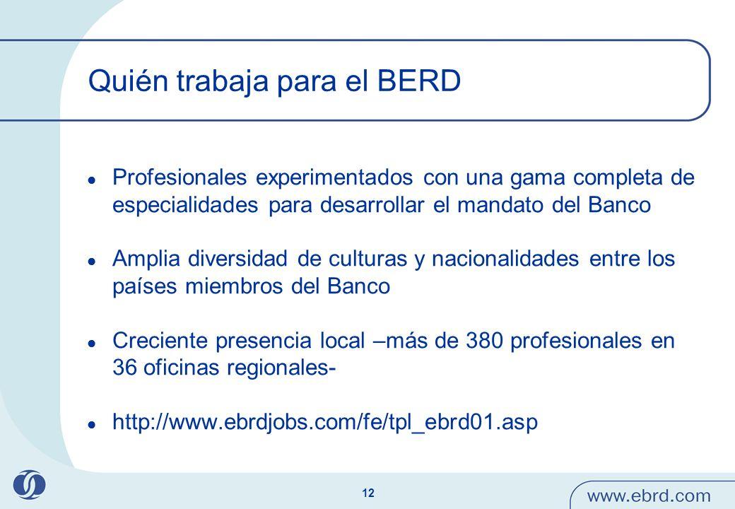 12 Quién trabaja para el BERD Profesionales experimentados con una gama completa de especialidades para desarrollar el mandato del Banco Amplia divers
