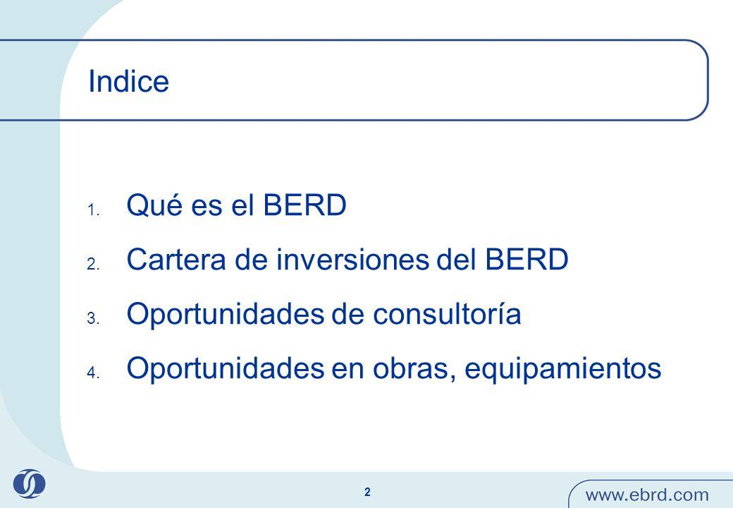 2 Indice 1. Qué es el BERD 2. Cartera de inversiones del BERD 3. Oportunidades de consultoría 4. Oportunidades en obras, equipamientos