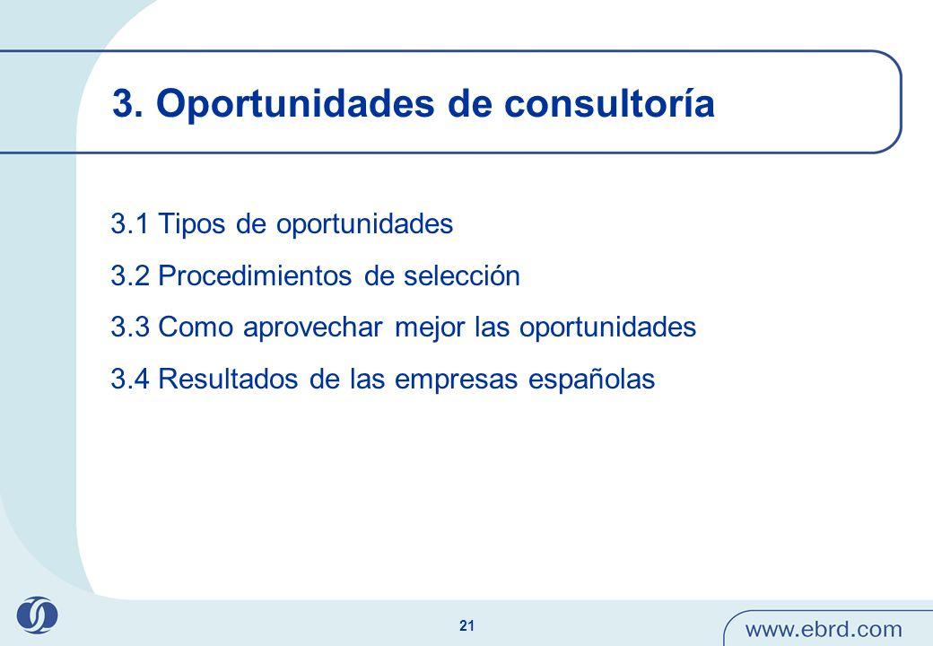 21 3. Oportunidades de consultoría 3.1 Tipos de oportunidades 3.2 Procedimientos de selección 3.3 Como aprovechar mejor las oportunidades 3.4 Resultad