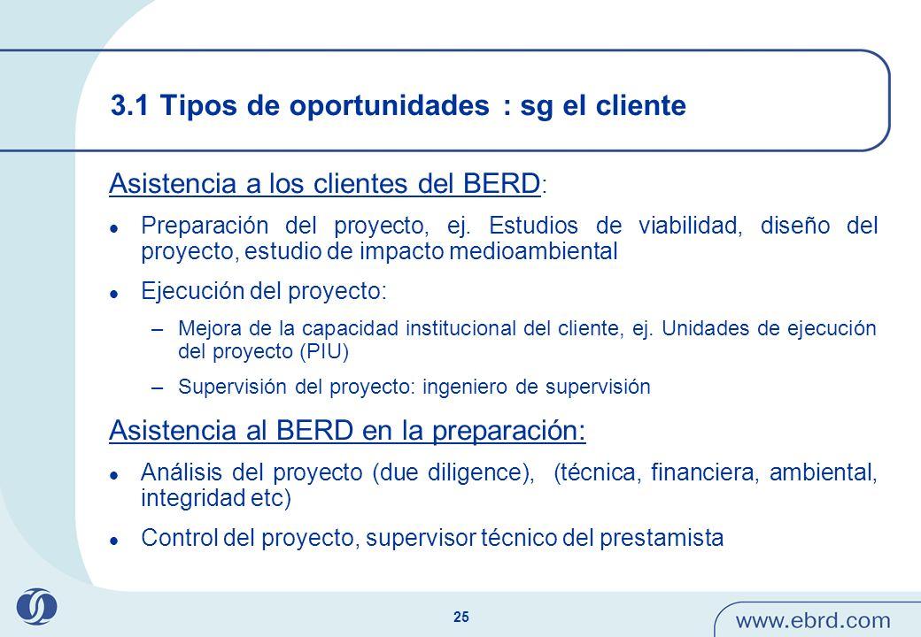 25 3.1 Tipos de oportunidades : sg el cliente Asistencia a los clientes del BERD : Preparación del proyecto, ej. Estudios de viabilidad, diseño del pr