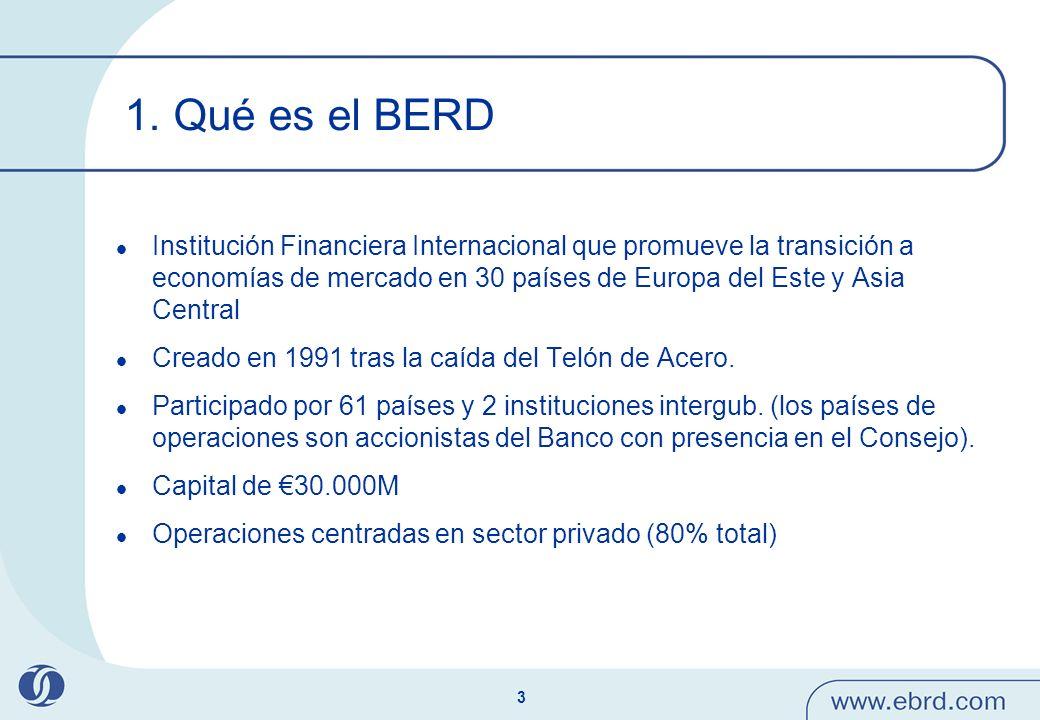 14 Papel catalizador del BERD Apalancamiento de las inversiones del BERD a través de la atracción de inversores nacionales y extranjeros (80.000 M adicionales) El BERD utiliza financiación de donantes para facilitar la prep.
