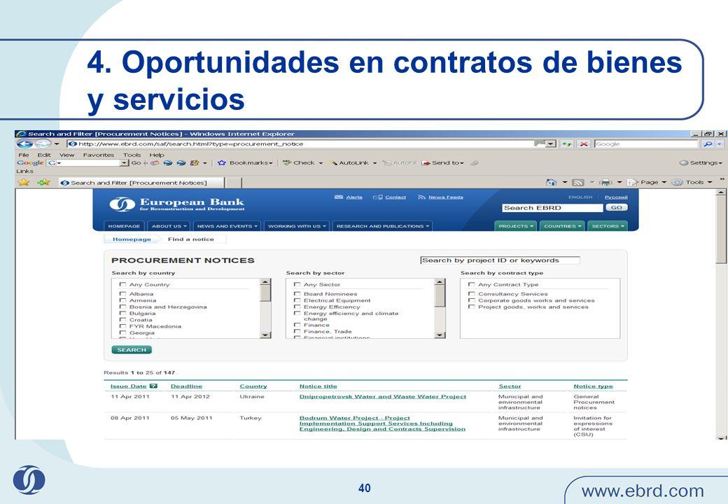 40 4. Oportunidades en contratos de bienes y servicios