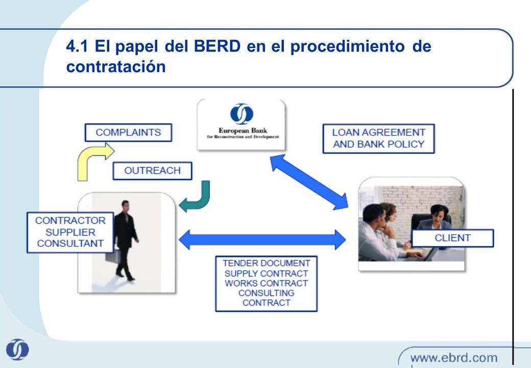 41 4.1 El papel del BERD en el procedimiento de contratación