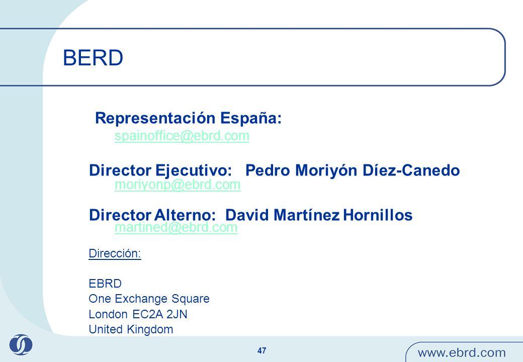 47 BERD Representación España: spainoffice@ebrd.com Director Ejecutivo: Pedro Moriyón Díez-Canedo moriyonp@ebrd.com moriyonp@ebrd.com Director Alterno