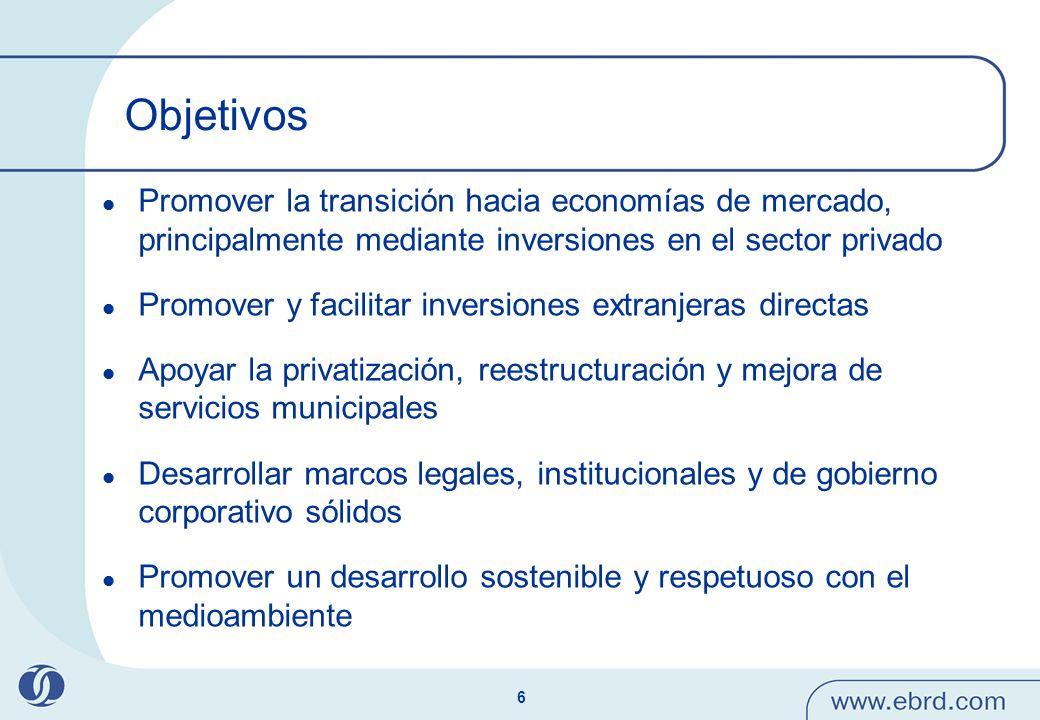 6 Objetivos Promover la transición hacia economías de mercado, principalmente mediante inversiones en el sector privado Promover y facilitar inversion