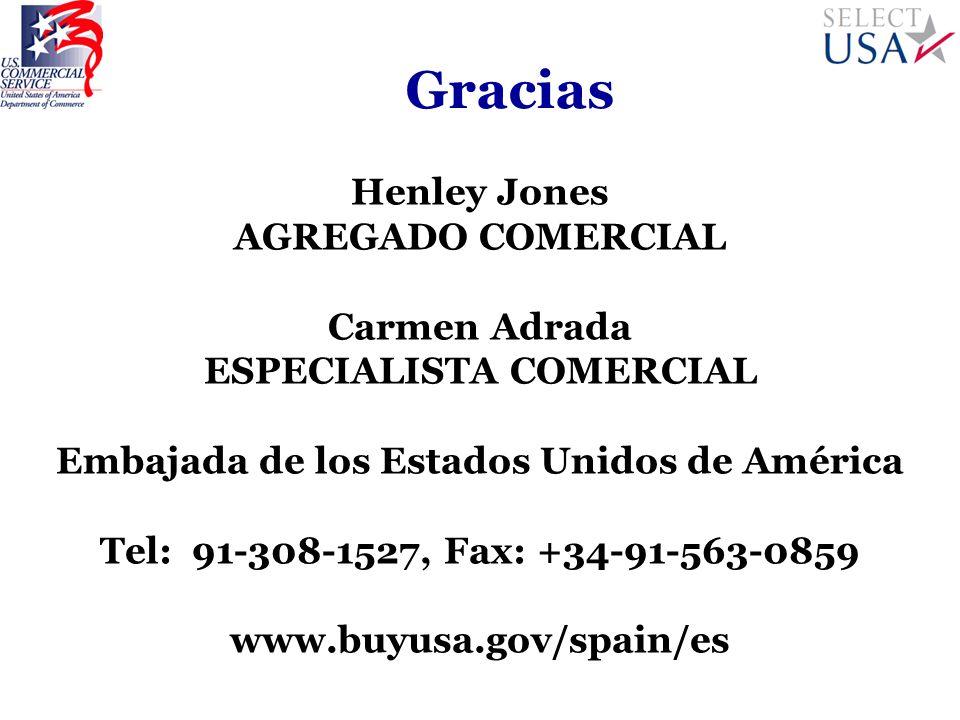 Gracias Henley Jones AGREGADO COMERCIAL Carmen Adrada ESPECIALISTA COMERCIAL Embajada de los Estados Unidos de América Tel: 91-308-1527, Fax: +34-91-5
