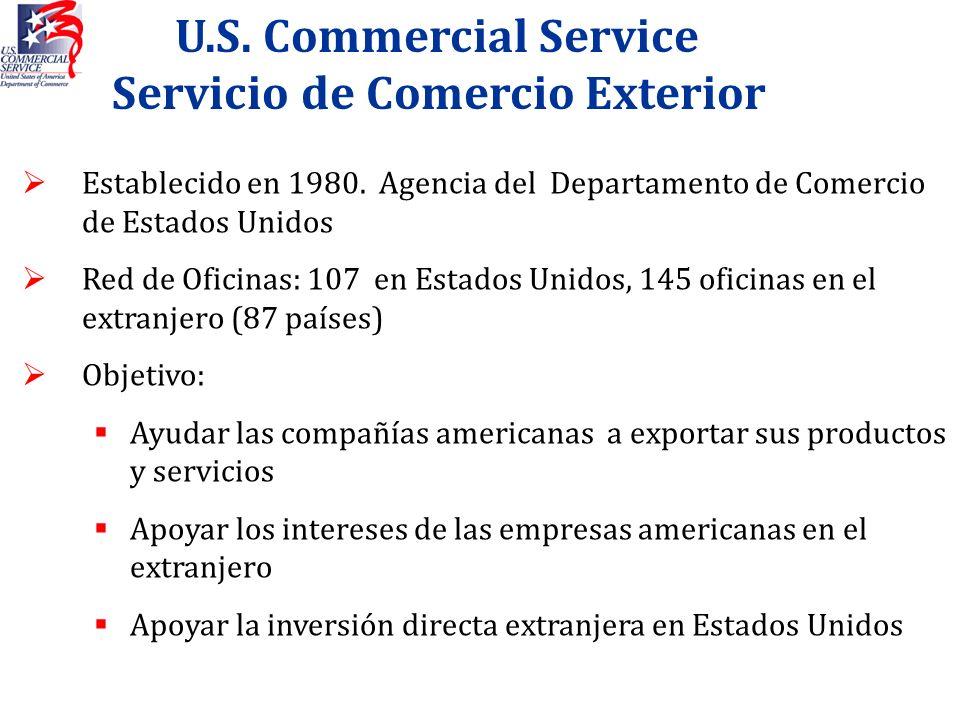 U.S. Commercial Service Servicio de Comercio Exterior Establecido en 1980. Agencia del Departamento de Comercio de Estados Unidos Red de Oficinas: 107
