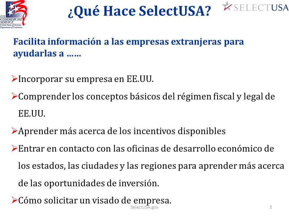 ¿ Qué Hace SelectUSA? Facilita información a las empresas extranjeras para ayudarlas a …… Incorporar su empresa en EE.UU. Comprender los conceptos bás