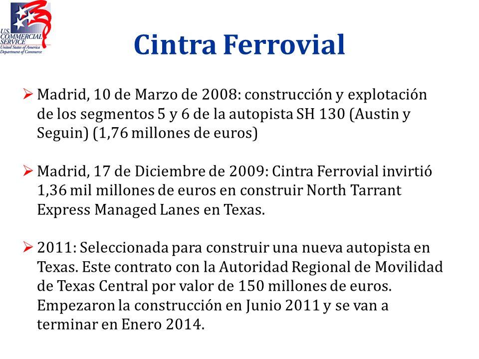 Cintra Ferrovial Madrid, 10 de Marzo de 2008: construcción y explotación de los segmentos 5 y 6 de la autopista SH 130 (Austin y Seguin) (1,76 millone