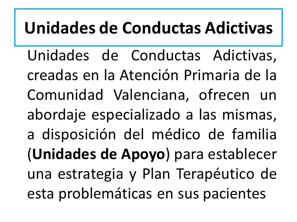 Unidades de Conductas Adictivas Unidades de Conductas Adictivas, creadas en la Atención Primaria de la Comunidad Valenciana, ofrecen un abordaje espec