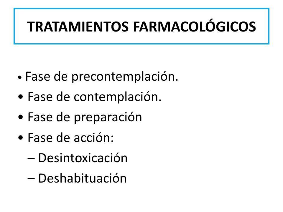 TRATAMIENTOS FARMACOLÓGICOS Fase de precontemplación. Fase de contemplación. Fase de preparación Fase de acción: – Desintoxicación – Deshabituación