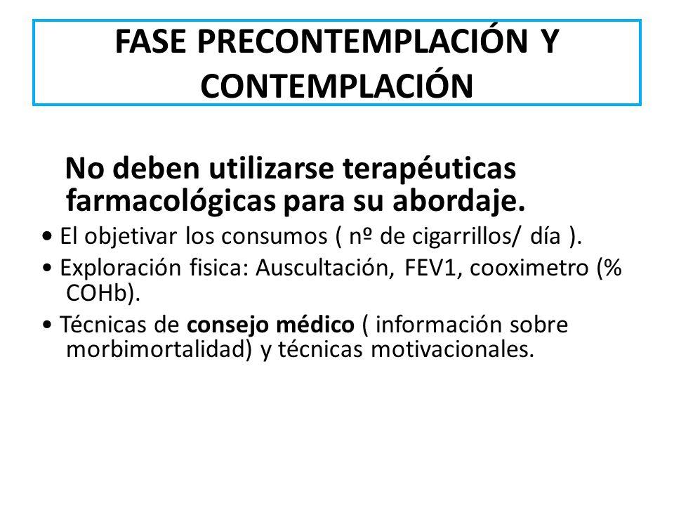 FASE PRECONTEMPLACIÓN Y CONTEMPLACIÓN No deben utilizarse terapéuticas farmacológicas para su abordaje. El objetivar los consumos ( nº de cigarrillos/