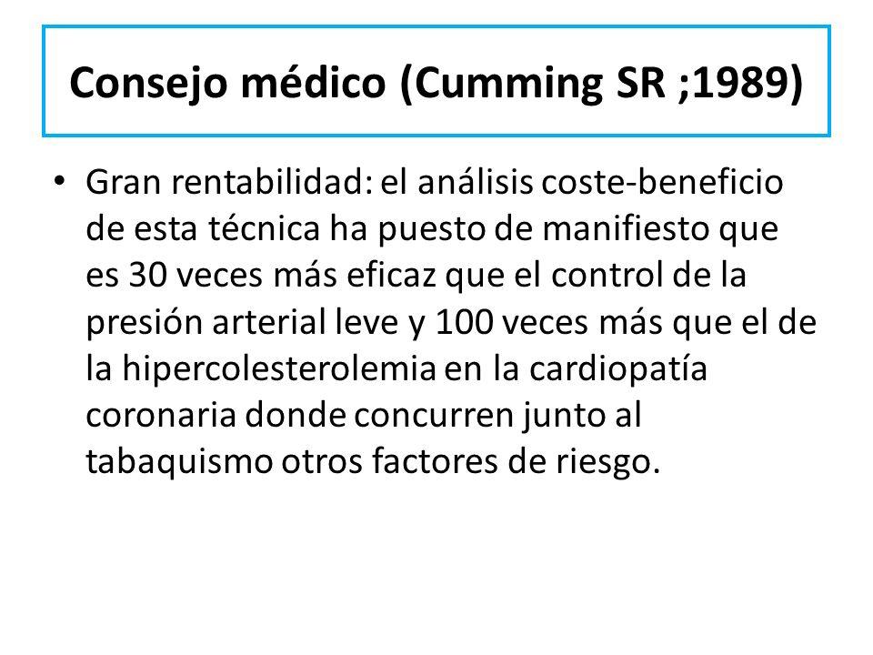 Consejo médico (Cumming SR ;1989) Gran rentabilidad: el análisis coste-beneficio de esta técnica ha puesto de manifiesto que es 30 veces más eficaz qu