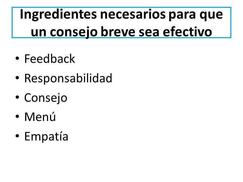 Ingredientes necesarios para que un consejo breve sea efectivo Feedback Responsabilidad Consejo Menú Empatía