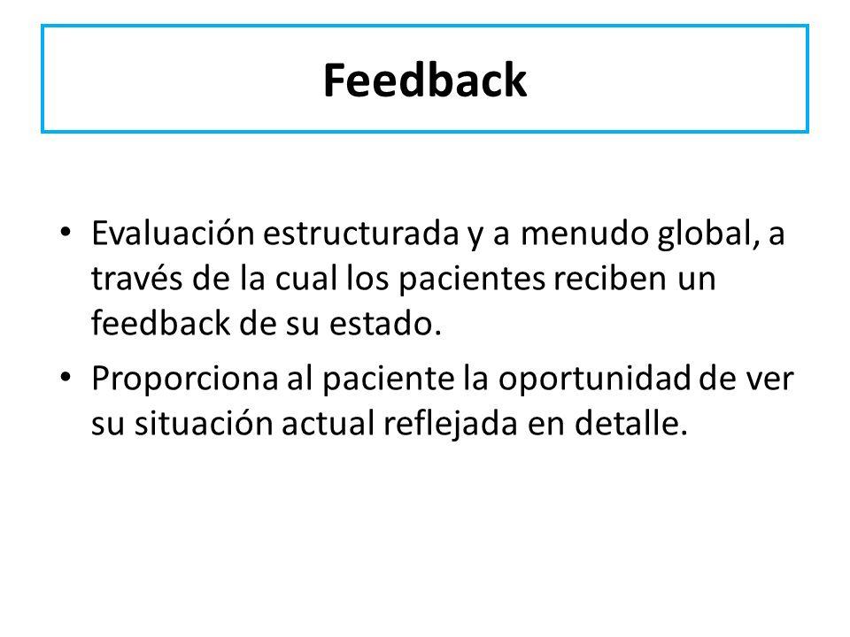 Feedback Evaluación estructurada y a menudo global, a través de la cual los pacientes reciben un feedback de su estado. Proporciona al paciente la opo