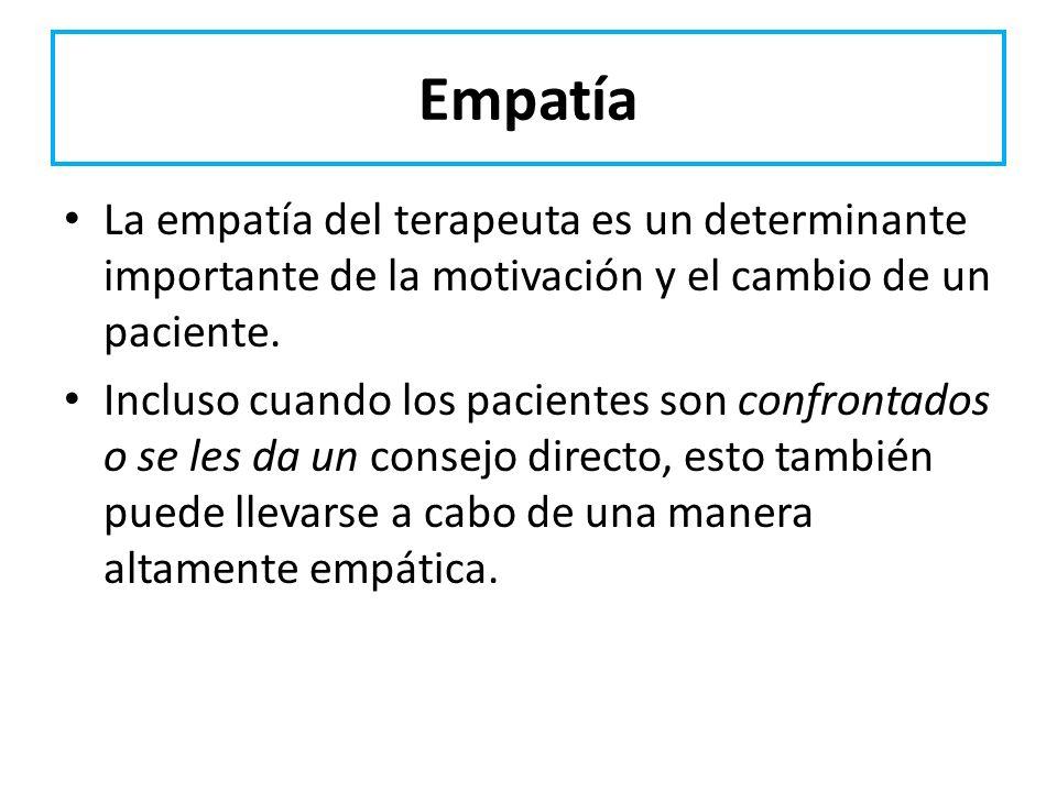 Empatía La empatía del terapeuta es un determinante importante de la motivación y el cambio de un paciente. Incluso cuando los pacientes son confronta