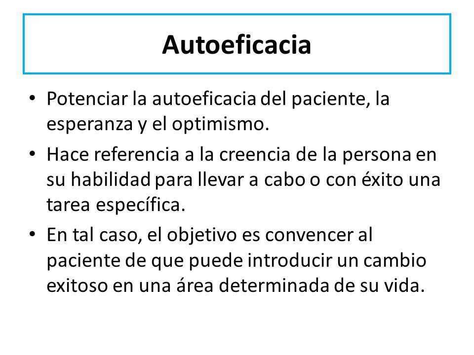 Autoeficacia Potenciar la autoeficacia del paciente, la esperanza y el optimismo. Hace referencia a la creencia de la persona en su habilidad para lle