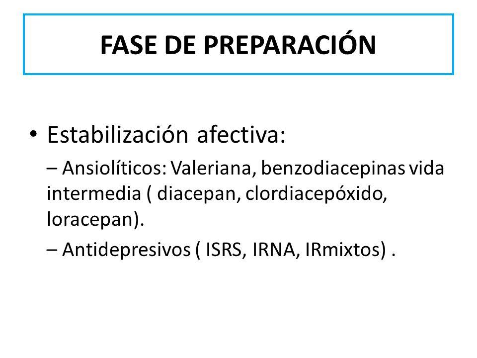 FASE DE PREPARACIÓN Estabilización afectiva: – Ansiolíticos: Valeriana, benzodiacepinas vida intermedia ( diacepan, clordiacepóxido, loracepan). – Ant