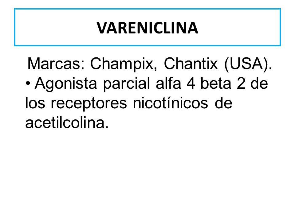 VARENICLINA Marcas: Champix, Chantix (USA). Agonista parcial alfa 4 beta 2 de los receptores nicotínicos de acetilcolina.