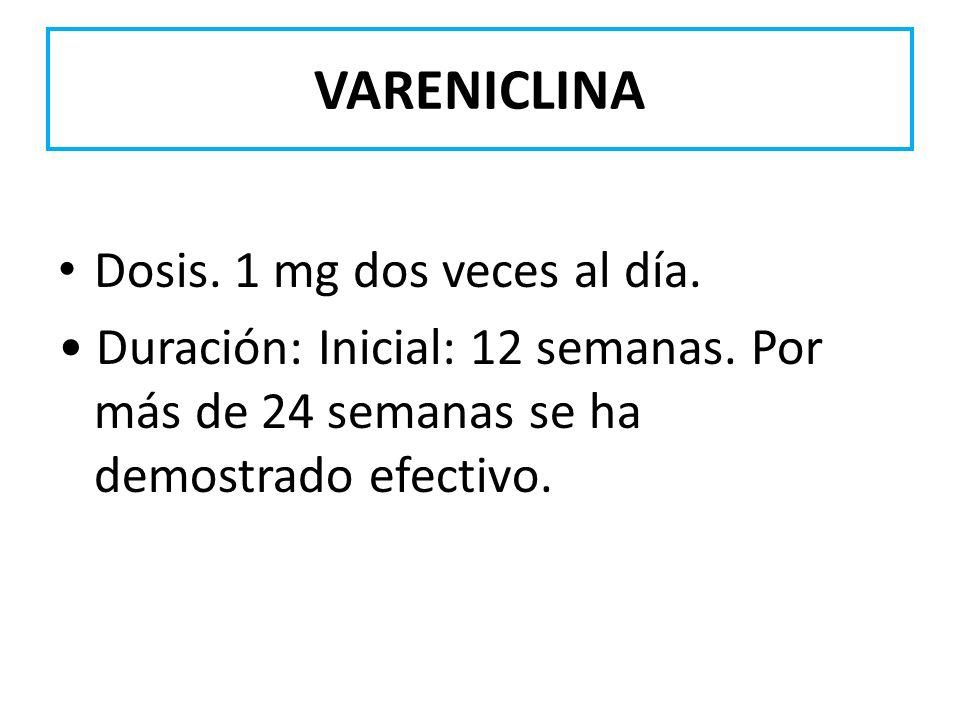 VARENICLINA Dosis. 1 mg dos veces al día. Duración: Inicial: 12 semanas. Por más de 24 semanas se ha demostrado efectivo.