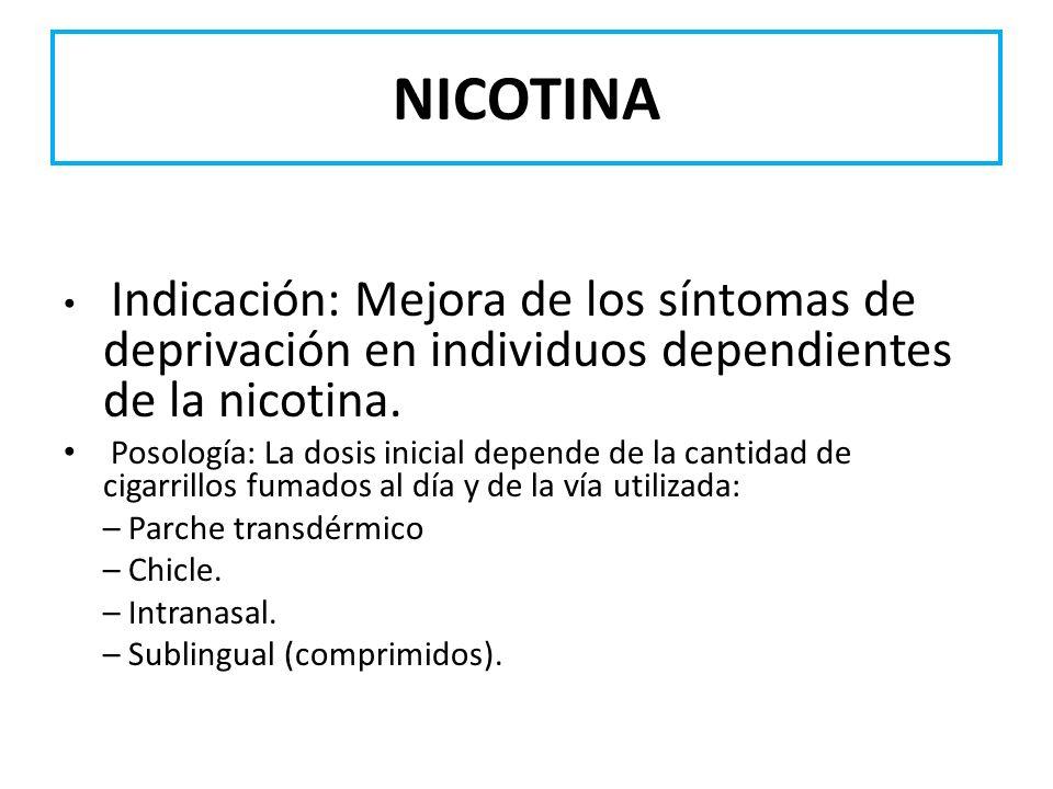 NICOTINA Indicación: Mejora de los síntomas de deprivación en individuos dependientes de la nicotina. Posología: La dosis inicial depende de la cantid