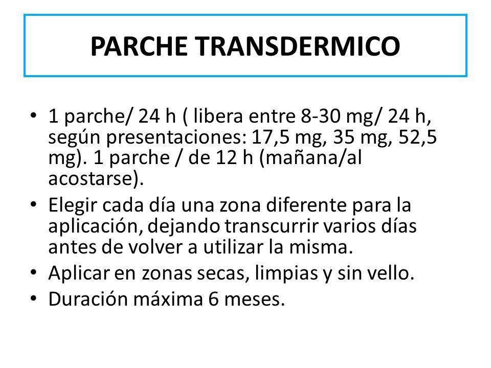 PARCHE TRANSDERMICO 1 parche/ 24 h ( libera entre 8-30 mg/ 24 h, según presentaciones: 17,5 mg, 35 mg, 52,5 mg). 1 parche / de 12 h (mañana/al acostar