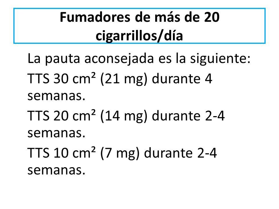 Fumadores de más de 20 cigarrillos/día La pauta aconsejada es la siguiente: TTS 30 cm² (21 mg) durante 4 semanas. TTS 20 cm² (14 mg) durante 2-4 seman