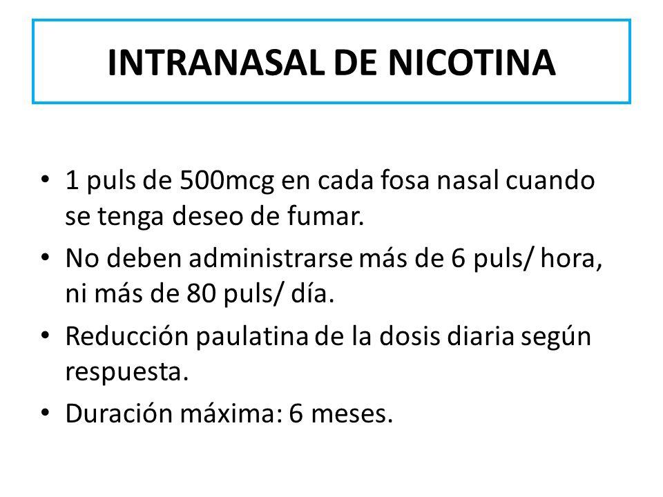 INTRANASAL DE NICOTINA 1 puls de 500mcg en cada fosa nasal cuando se tenga deseo de fumar. No deben administrarse más de 6 puls/ hora, ni más de 80 pu